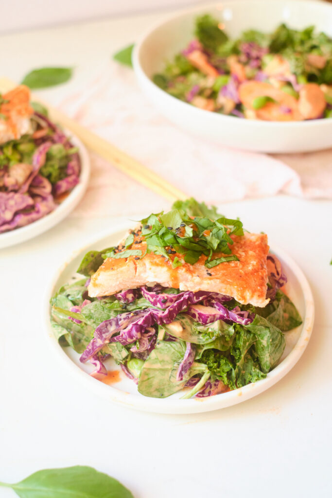 Fillets of salmon piled with fresh basil sits atop an asian sesame salads with fresh veggies