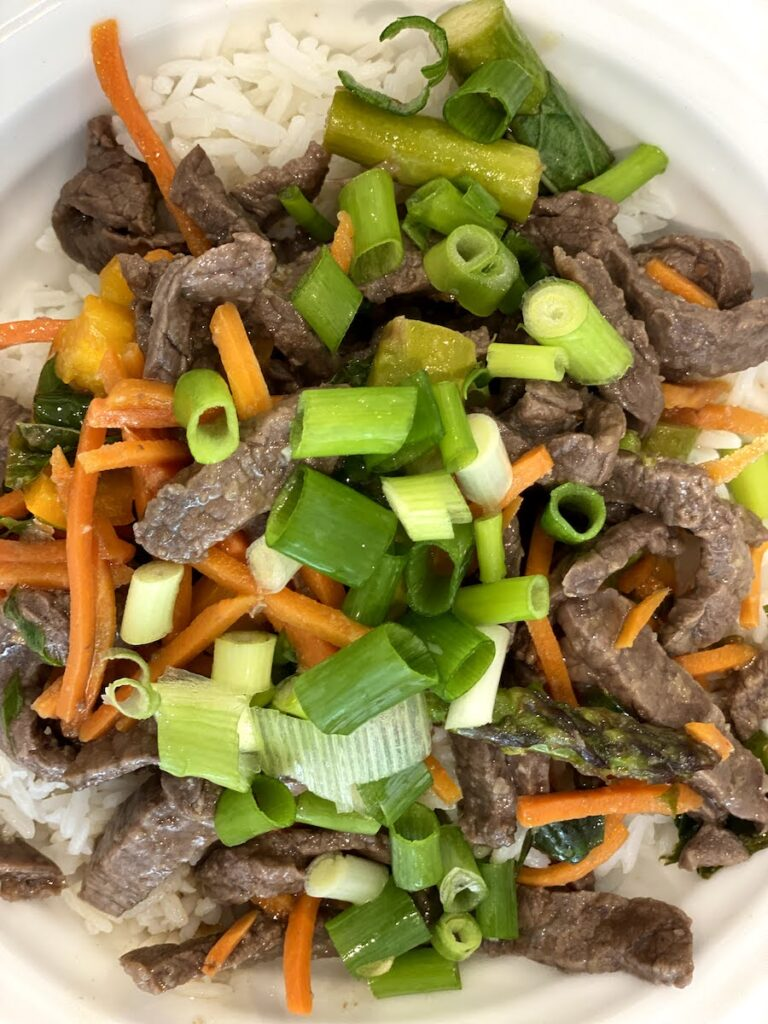 a ginger beef, basil and veggie stir fry